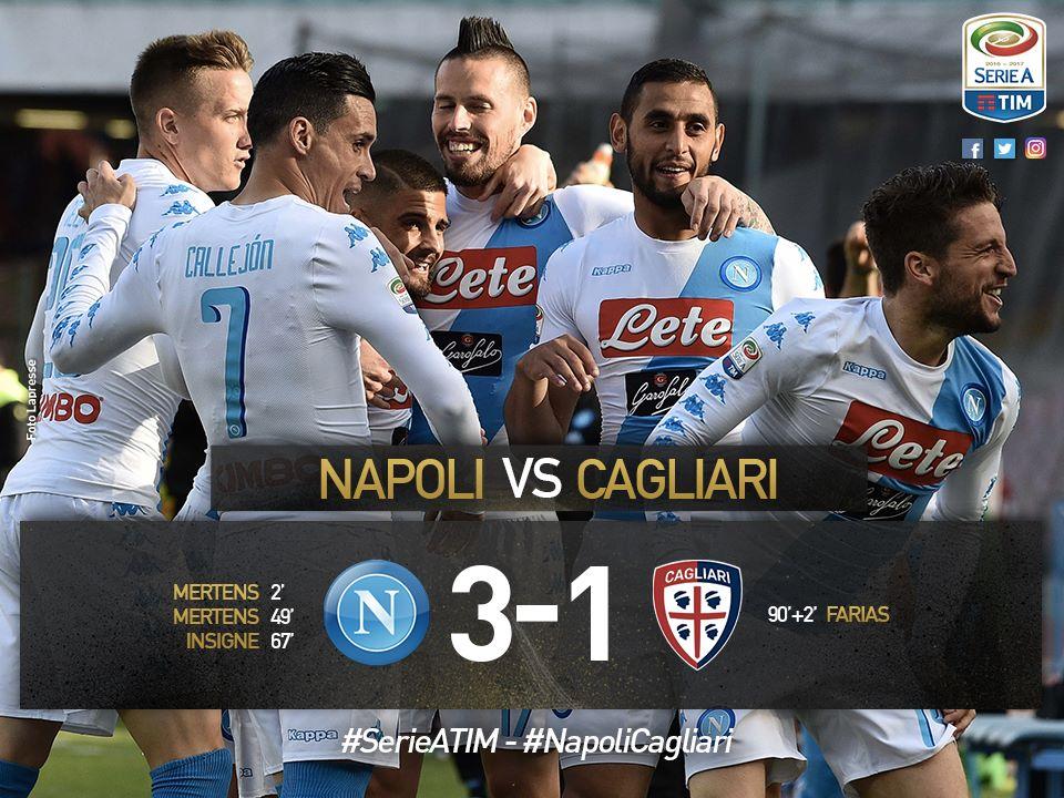 Napoli-Cagliari era una partita che serviva a dare continuità ai risultati, all'inseguimento della Roma e al bel gioco. Missione riuscita