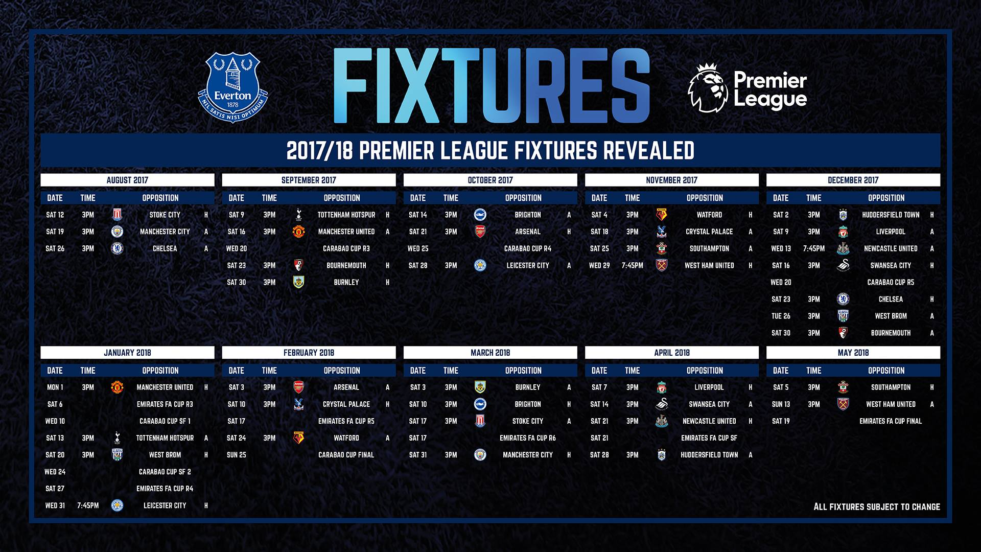 Premier League Calendario.Everton Il Calendario Della Premier League 2017 2018 Si