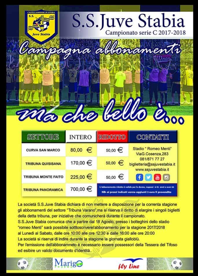 Manca poco all'inizio della stagione. Ecco la Campagna Abbonamenti Juve Stabia 2017/2018, con tutti i dettagli