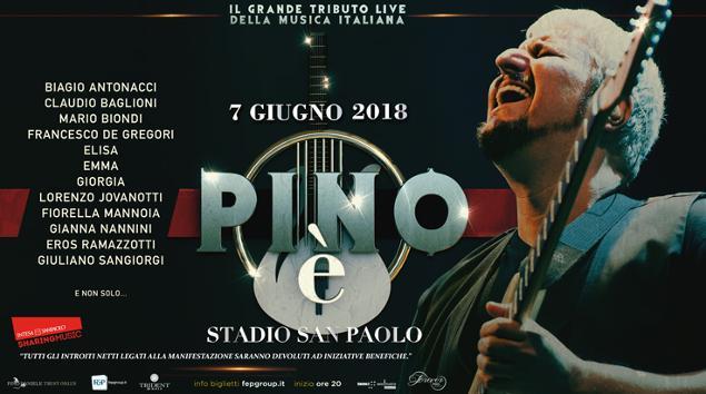 """Lo Stadio San Paolo ospiterà il prossimo 7 Giugno il concerto """"Pino è"""", tributo all'indimenticabile cantautore partenopeo Pino Daniele"""