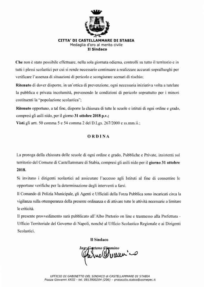 Prorogata a domani 31 ottobre 2018 la chiusura delle scuole a Castellammare di Stabia. Troppi i danni! Ecco l'ordinanza