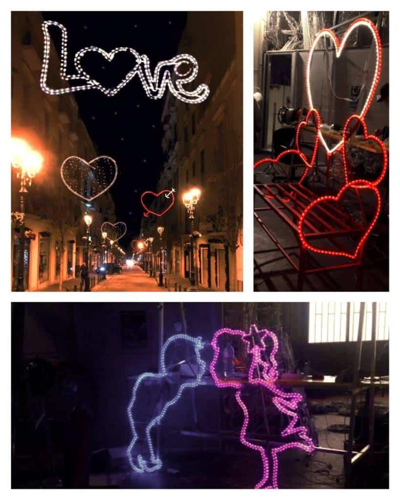 Cuori, baci e frasi illuminano le strade della città corallina - splendida iniziativa dell'Associazione Commercianti Torresi.