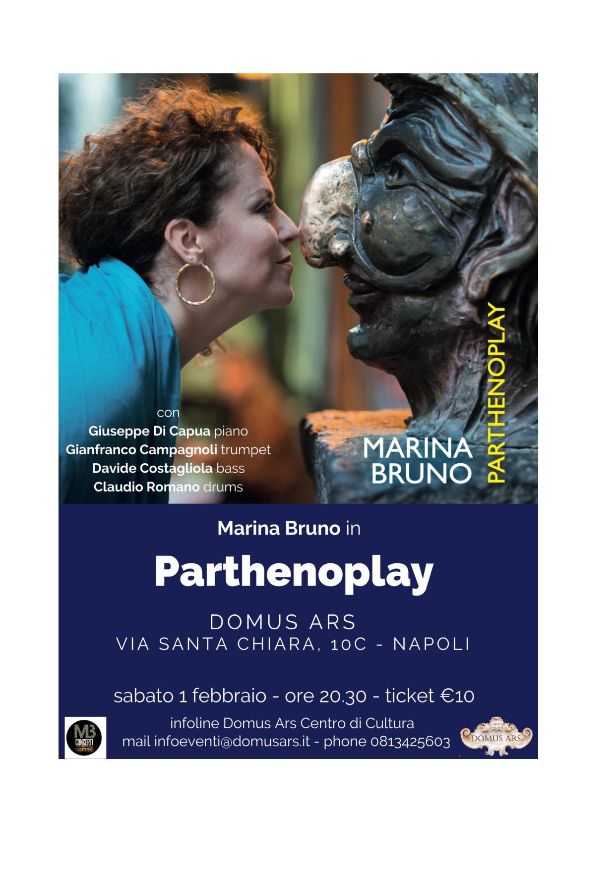 Parthenoplay Marina Bruno presenta il suo quarto lavoro discografico presso la Domus Ars. Parthenope vede la collaborazione di numerosi musicisti.