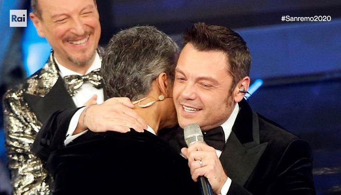 bacio Fiorello e Tiziano Ferro