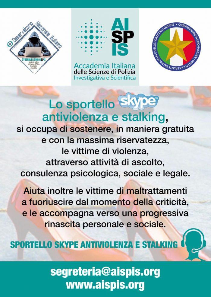 Aispis Sportello Skype contro la violenza e lo stalking, promosso dall'Accademia Italiana delle Scienze di Polizia Investigativa e Scientifica